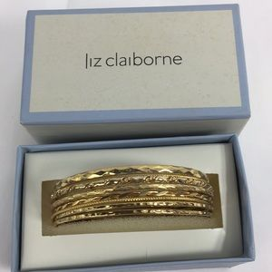 NIB Liz Claiborne 8 gold bangle set